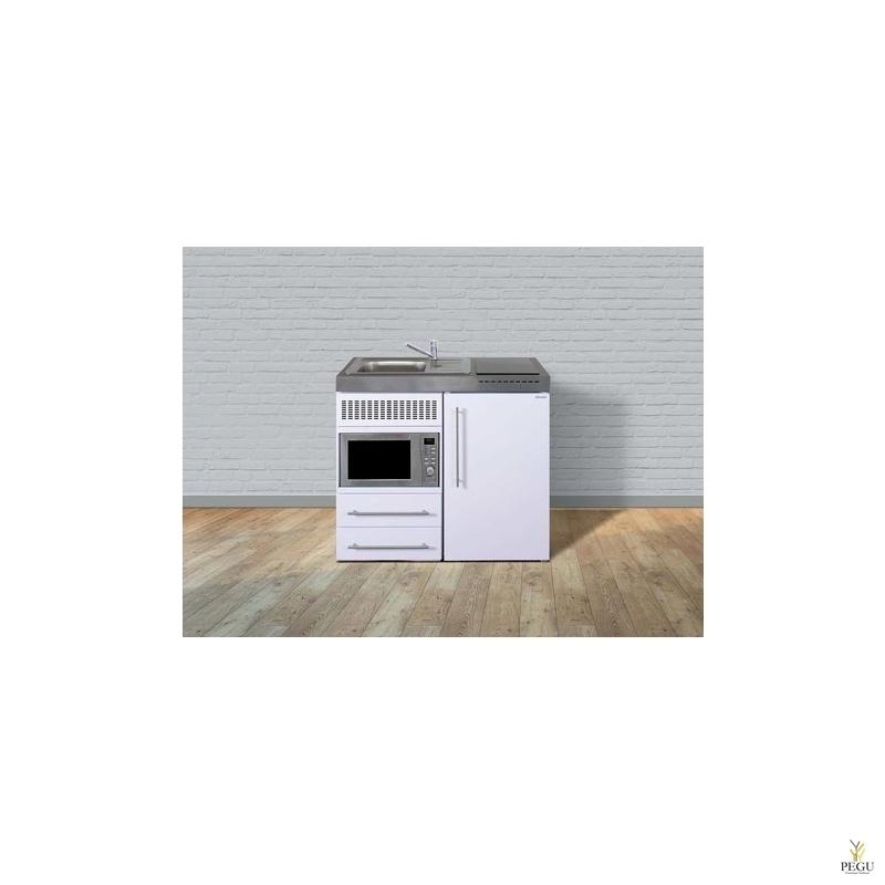 Миникухня металлическая Stengel MPM100,  холодильник,  микроволновая печь, индукционная плита, белая, раковина слева