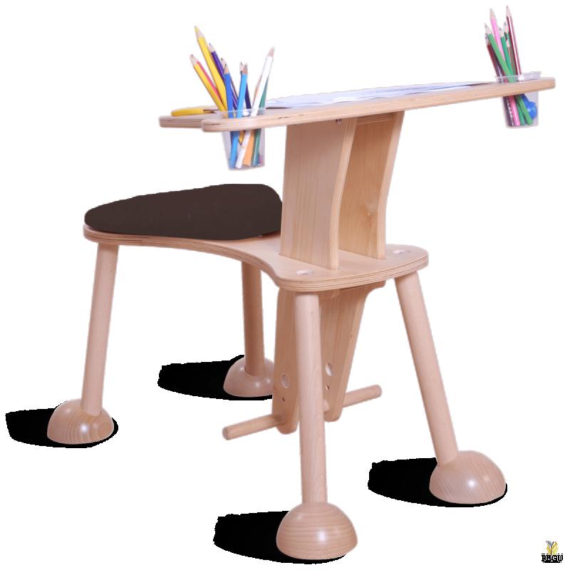 Clexo место для игры, детский стул со столиком, сидение чёрное, ножки натуральные