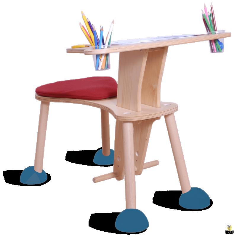 Clexo место для игры, детский стул со столиком, сидение красное, ножки синие