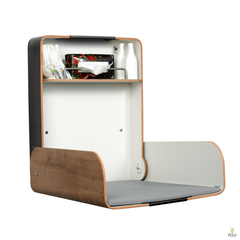 Пеленальный столик настенный KAWA maxi чёрный/дуб/дуб
