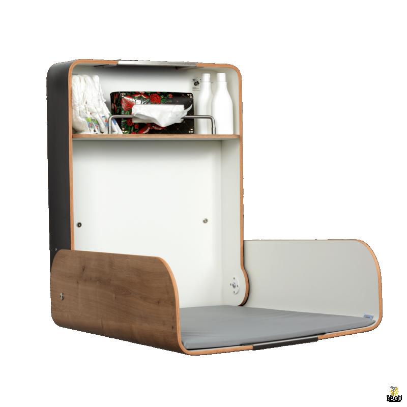 Пеленальный столик настенный KAWA maxi нержавеющая сталь /дуб/дуб