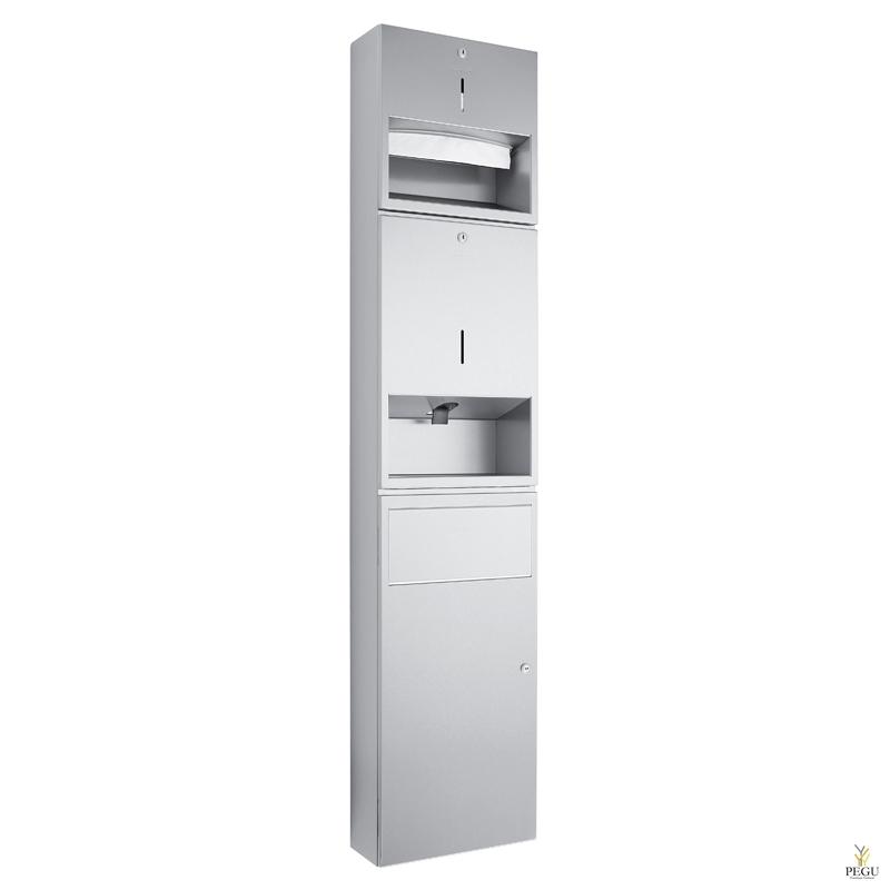 Комбинированный дозатор для бумаги на 250 полотенец,  дозатор для мыла 950 ml, урна с клапаном 11 l сатин