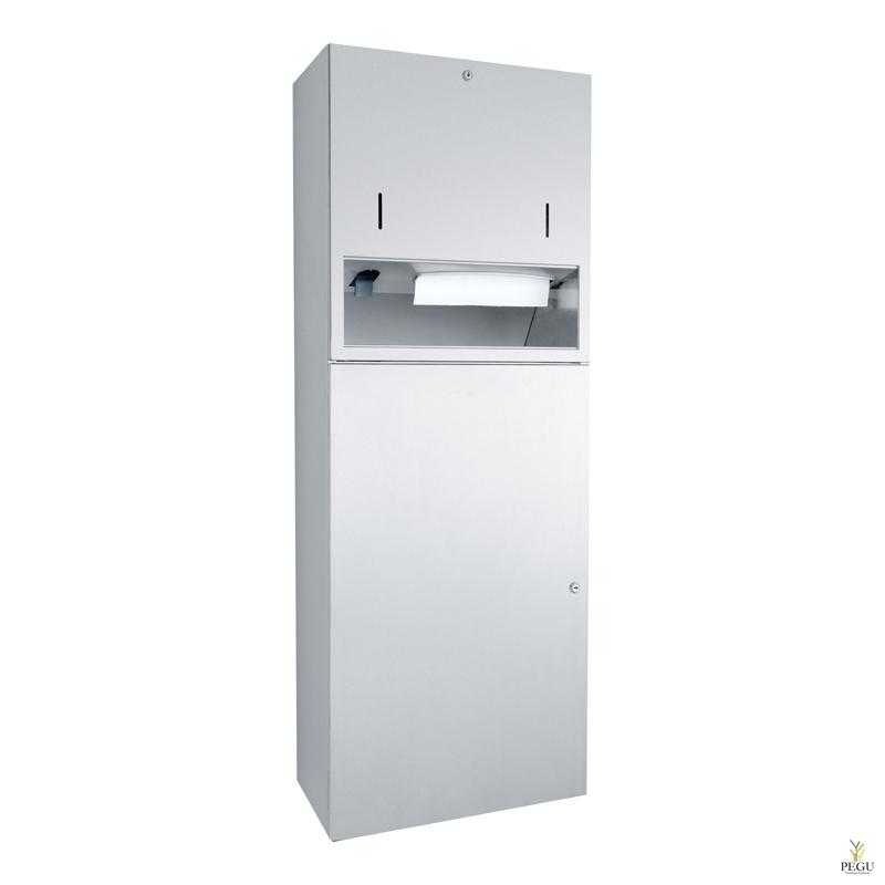 Комбинированный дозатор для бумажных полотенец на 500 шт,  дозатор для мыла 950 ml, мусорница 48l сатин