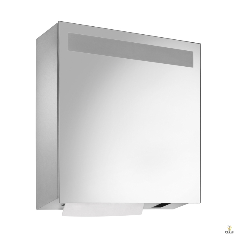 Peegliga Kätepaberidosaator 500 lk + kontaktivaba seebidosaator 950ml pudeliga satiin R/V teras