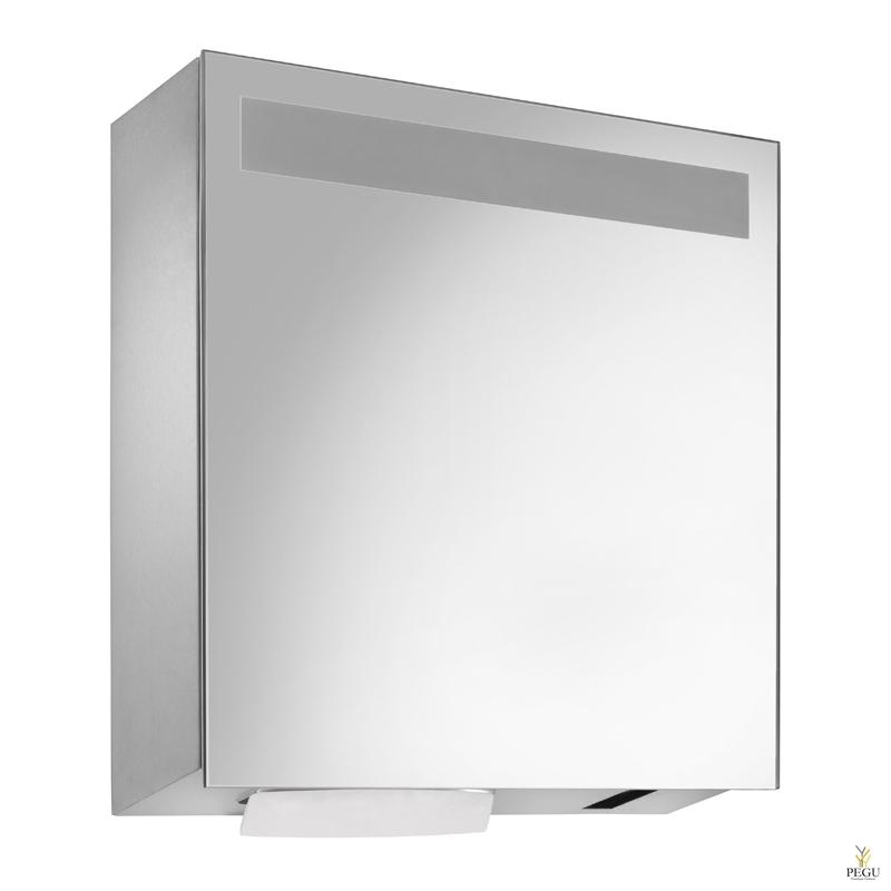 Зеркало,  Дозатор для полотенец 750 шт + бесконтактный дозатор для жидкого мыла 950ml бутылка Н/Р сталь сатин