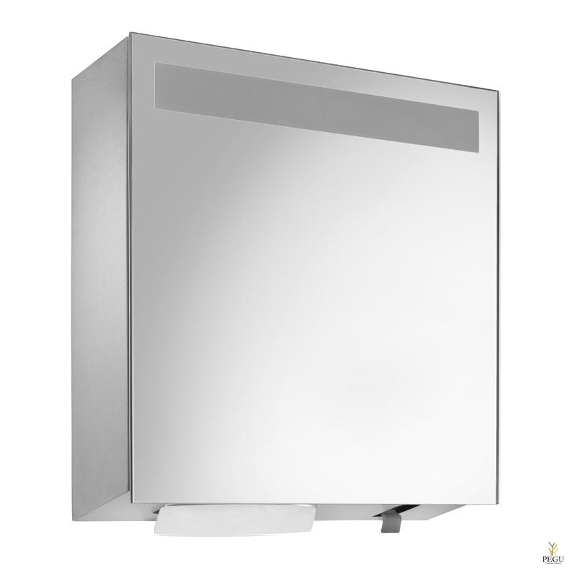 Зеркало,  Дозатор для полотенец 750 шт + дозатор для жидкой пены 950ml бутылка Н/Р сталь сатин