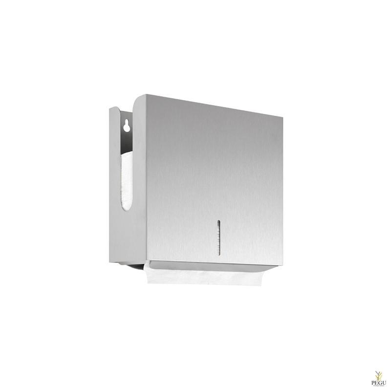 Дозатор для бумажных полотенец 300 шт Н/Р сталь, матовый