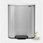 Pedaaliga prügikast, soft-close Brabantia BO, 2x30L Matt Steel Anti-Fingerprint