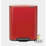 Pedaaliga prügikast, soft-close Brabantia BO, 60L Passion red