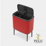 Touch bin сортировочный  мусорный бак, soft-close Brabantia BO, 11+23L Passion RED красный