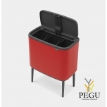 Touch bin ведро для сортировки мусора, soft-close Brabantia BO, 3x11L Passion RED красное