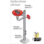 Напольный душ для глаз, нержавеющая сталь 26l/min, с раковиной