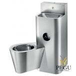 Delabie KOMPACT loputuskastiga WC+valamu paremal põranda antivandaalne R/V teras AISI304