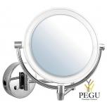 Косметическое зеркало настенное, 5X  увеличение, хром, LED подсветка. Распродажа!