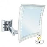 Косметическое зеркало настенное, 5X увеличение, хром, LED подсветка