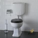 WC Paestum низкий бачок, хром, выход назад, деревянное сидение soft-close
