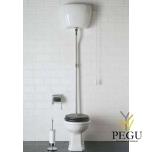 WC Paestum с высоким бачком , выход вниз, хром, деревянная крышка soft-close