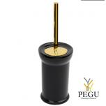 NIcolazzi WC щётка со стаканом золото GO, чёрная керамика