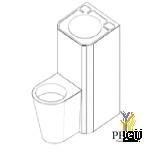 COMPACTO WC+раковина симметричный напольный,  антивандальный Н/Р сталь AISI304