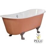 Чугунная ванна RECOR Primrose 170 x 68,  RAL внешнее покрытие,  ножки PRINCESS  чугун хром