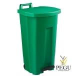 Мусорный бак с педалью и крышкой BOOGY 90L пластик зелёный