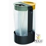 Держатель для мусорных пакетов c пепельницей 3L напольный 2-й 75L CITWIN PREMIUM магний- серый-жёлтый