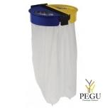 Мусорный держатель для сортировки мусора настенный 2-е 110L CITWIN ESSENTIEL серый-синий-жёлтый