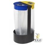 Держатель для мусорных пакетов напольный 2-ой 75L CITWIN PREMIUM серый- синий-жёлтый