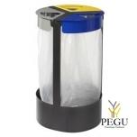 Держатель для мусорных пакетов напольный 3-й 45L CITWIN PREMIUM серый- синий-жёлтый-магний