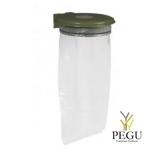 Дежатель для мусорного мешка с крышкой и замком COLLECTRAP ESSINTIEL 110L настенный olive зелёный RAL6003