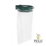 Дежатель для мусорного мешка с крышкой и замком COLLECTRAP ESSINTIEL 110L настенный moss зелёный RAL6005
