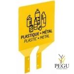 Знак для сортировки мусора на крепление plastic/metall жёлтый RAL1021