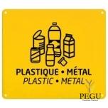 Настенный знак для сортировки мусора пластик/металл жёлтый RAL1021