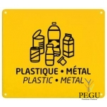 Sorteerimise plaat seinale plastic/metall kollane RAL1021