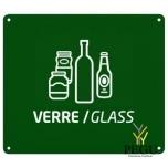 Настенный знак для сортировки мусора стекло зелёный RAL6005