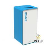 Мусорный бак для сортировки отходов CUBATRI 40L белый/синий RAL5015 бумага