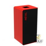 Мусорный бак для сортировки отходов CUBATRI 40L магний/красный RAL3020 металл