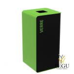 Мусорный бак для сортировки отходов CUBATRI 40L магнийl/зелёный RAL6018 RAL9022 стекло