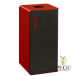 Мусорный бак для сортировки отходов CUBATRI 75L магний/красный RAL3020 Металл