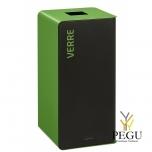 Мусорный бак для сортировки отходов CUBATRI 75L магний/зелёный RAL6018 стекло