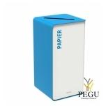 Мусорный бак для сортировки отходов CUBATRI 75L белый/синий RAL5015 бумага