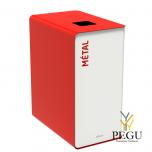 Мусорный бак для сортировки отходов CUBATRI 90L белый/красный RAL3020 металл