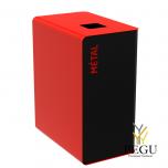 Мусорный бак для сортировки отходов CUBATRI 90L магний/красный RAL3020 металл