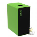 Мусорный бак для сортировки отходов CUBATRI 90L магний/зелёный RAL6018 стекло