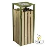 Prügikast Rossignol välitingimusele EDEN puit/metall 110L , tuhatoosiga 1.5L RAL6003 olive green