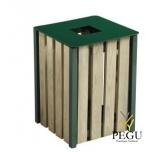 Prügikast Rossignol välitingimusele EDEN puit/metall 50L RAL6005 roheline green foam