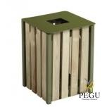 Prügikast Rossignol välitingimusele EDEN puit/metall 50L RAL6003 roheline olive green