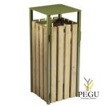 Prügikast Rossignol välitingimusele EDEN puit/metall 110L RAL6003 roheline olive green