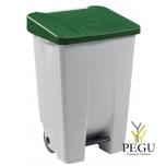Мусорный контейнер с педалью и крышкой MOBILY 80L пластик белый/зелёный
