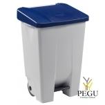 Мусорный контейнер с педалью и крышкой MOBILY 80L пластик белый/синий